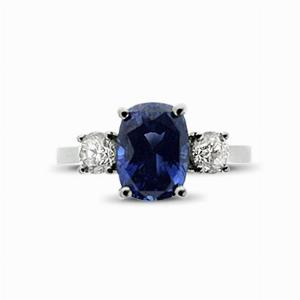 Sapphire & Diamond Three Stone Ring - 2.50ct